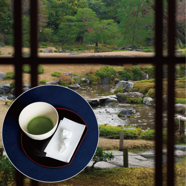 1.Relax with some matcha tea in front of the landscape borrowed from the Higashiyama Mountains.